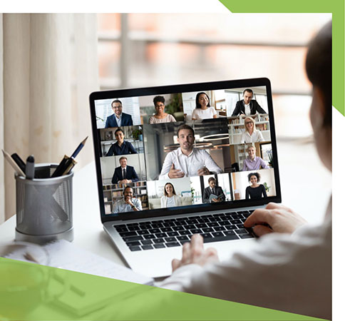 On-screen teleconference showing many members